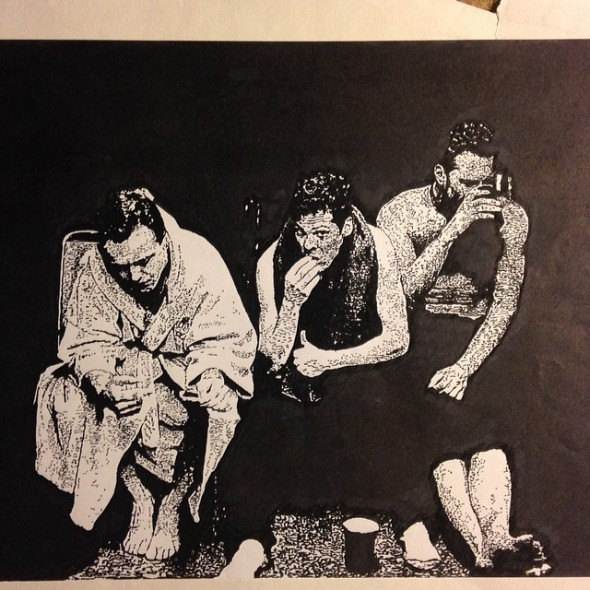 """Gord Laws pen and ink - 1999 - """"James, Lars, Jason"""""""