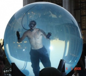 David blaine in a giant, glass bubble
