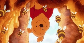 Pooh, bees, hive and honey